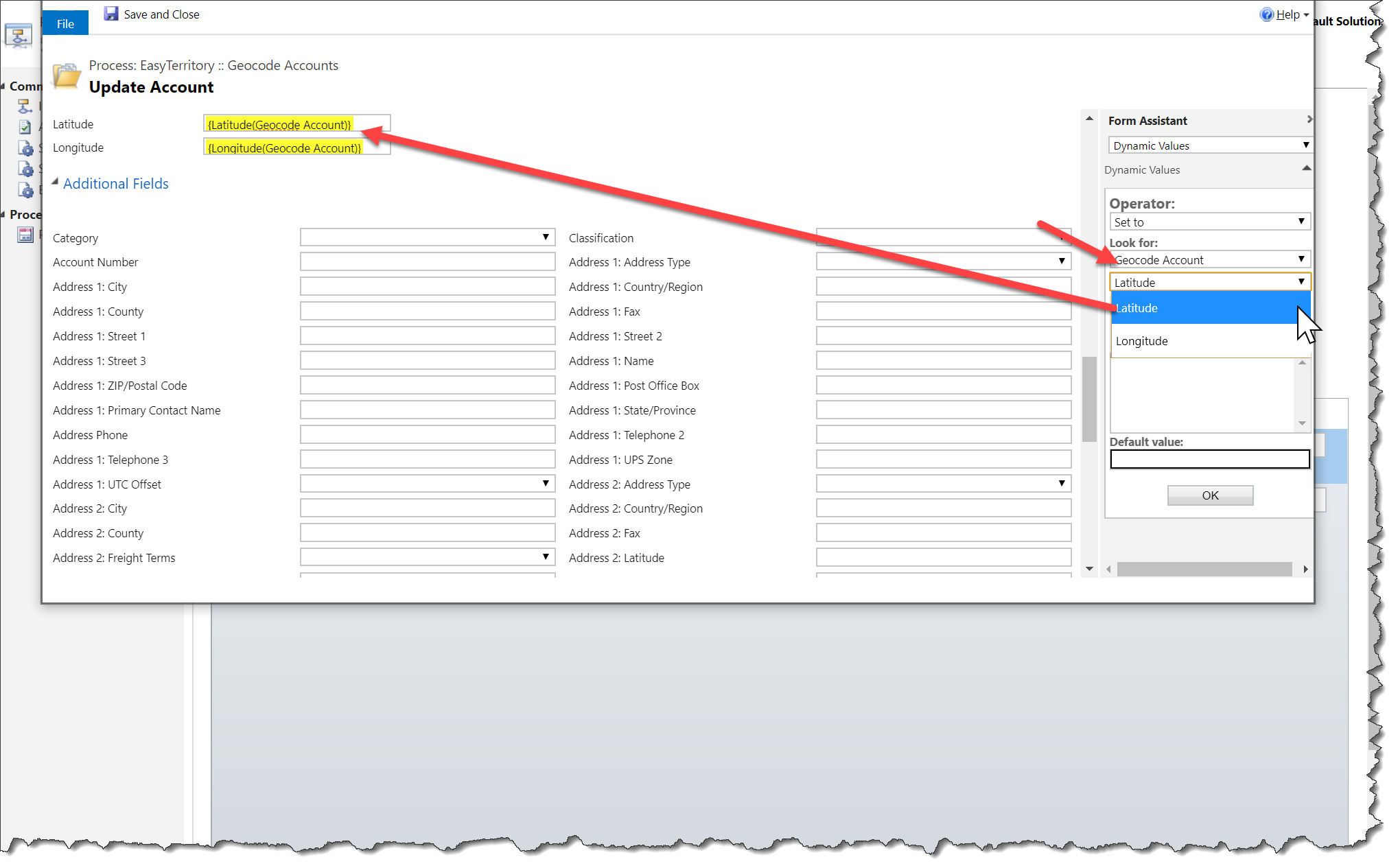 CRM GEOCODING WORKFLOW ACTIVITY PLUGIN - Sales Territory